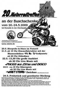 20. Motorradtreffen an der Buschschenke vom 20. bis 24 Mai 2009